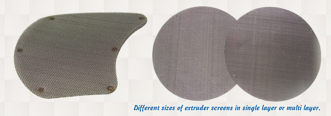 Three extruder screen packs with spot welded edges in different shapes on the white background.