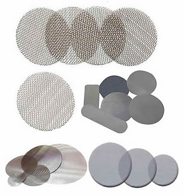 Several different shapes stainless steel extruder screens.