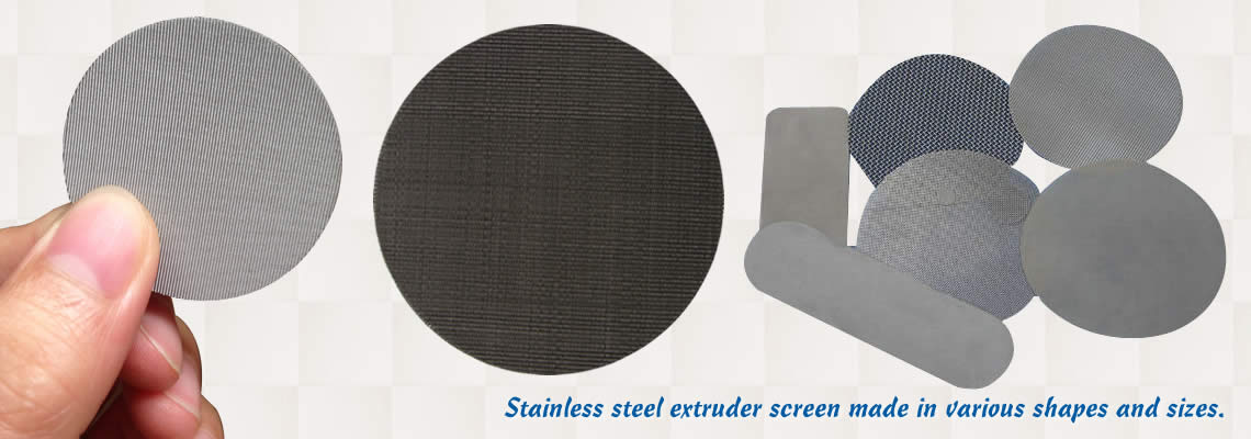 Stainless steel extruder screen made in different sizes and shapes on the white background.
